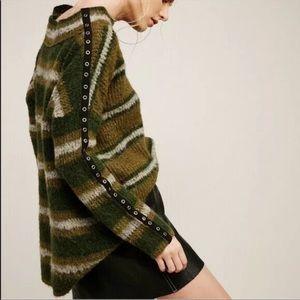 Free People Moss Side Stripe Tunic Sweater